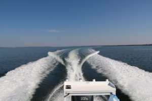 Boating on a glorious day on the Gippsland Lakes, Victoria