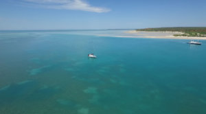 Aerial view of boats moored off Monkey Mia beach, West Australia.