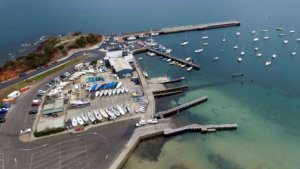 Aerial view of the boat ramp at Schnapper Point, Mornington Harbour, Mornington, Victoria.