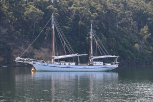 Broome pearl lugger Pam moored on the Gippsland Lakes