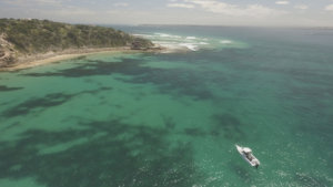 Aerial photograph of boat in the water at Point Nepean, Port Phillip Bay Heads, Victoria.