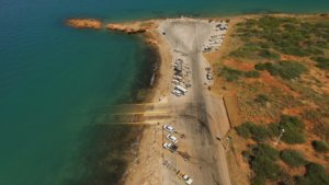 Aerial view of Entrance Point boat ramps in Broome West Australia.