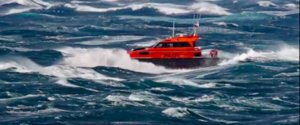 Port Phillip Sea Pilots Pilot Boat in 50 knot winds in the Rip, Port Phillip Bay Heads.