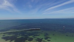 Aerial photograph of Queenscliff jetty and foreshore