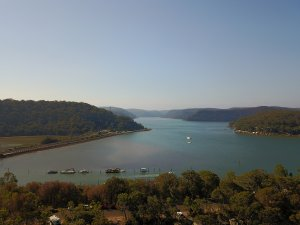 Aerial view of the Hawkesbury River looking north from Brooklyn.