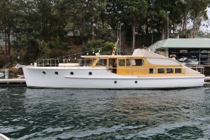 Classic Halvorsen crusier on the Hawkesbury River, Cottage Point, NSW