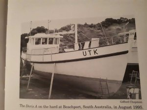 Photo of Doris on the hard stand (photo out of Gifford Chapmans wooden fishing boat book)
