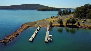Aerial view of Soldiers Poiint Boat Ramp, Port Stephens, NSW