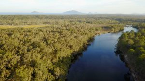 Aerial view of Myall River, Port Stephens, NSW